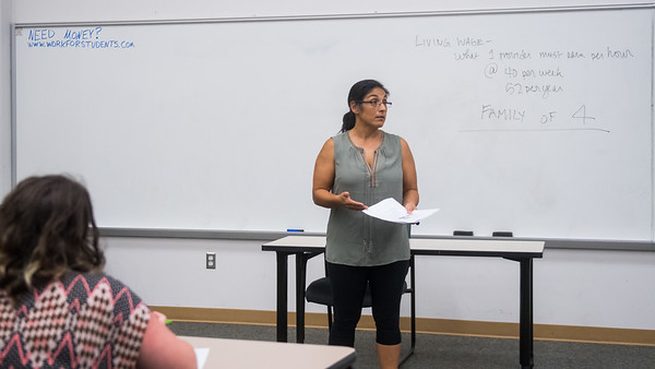 Dr. Isabel Araiza gives a lecture about the living expenses of a family during her  Sociology of the Family class.