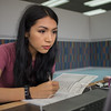 Stephanie Najera reviews her Microbiology homework in the Mary & Jeff Bell Library.