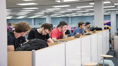 Islander students study for their classes in the Mary and Jeff Bell Library.