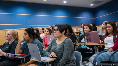 Students listens to Professor Brenda Buckner's lecture in her Nursing Care of Children course.