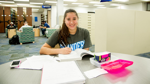 Student Amanda Avila studies for her Criminal Justice mid-term exam in the Mary and Jeff Bell Library.
