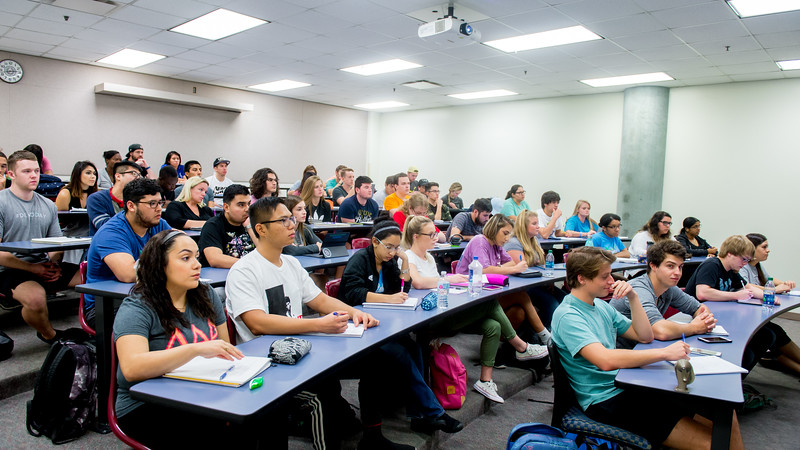 Students listen to Dr. Patrick Larkin's lecture in Biochemistry I.