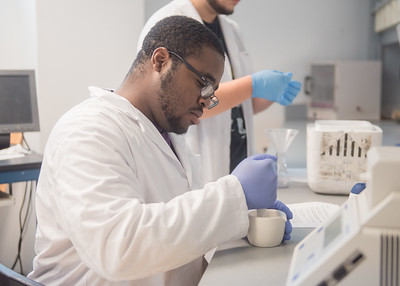 Student Eric Nzeadibe crushes cauliflower using a mortar and pestle during a Cell Biology lab.
