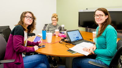 Students Rebekah Mills (left), Brandy Kabila, and Myranda Fassnacht study for an upcoming exam in a breakout room at the O'Connor building.