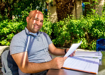 Student Nicholas Gonzalez studies for his Fundamentals of Nursing class in Hector P. Garcia Plaza.