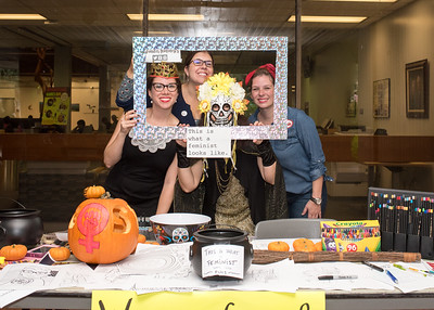 Members of the Women's, Gender, and Sexuality Studies program dressed up to promote their event in the Breeezeway.