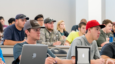 Students listen to Dr. Jeffery Spirko's lecture in his University Physics II class.