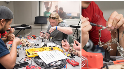 Students work together to repair various cables during a Live Sound Engineering class.