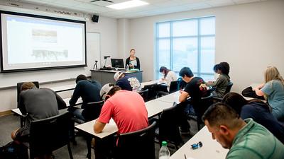 Professor Erika Locke starts her Geomorphology class with a quiz.