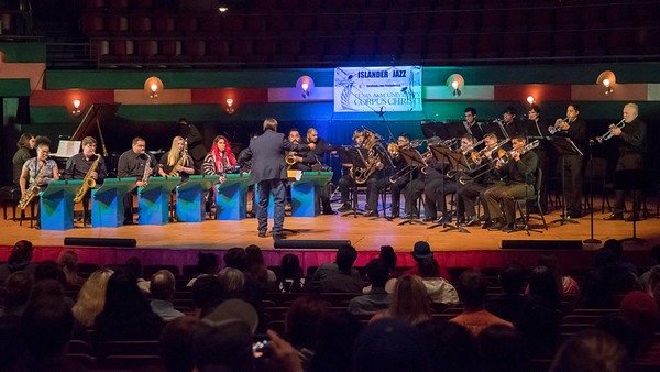 The Islander Jazz Ensemble performs to a crowd of family and friends in the Performing Arts Center.