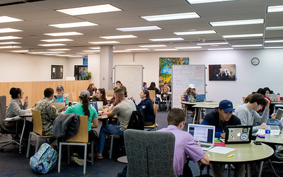 Islander students study for their classes in the study area of the second floor of the Mary and Jeff Bell Library.