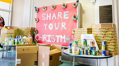 "The ""Share your Christmas"" table at early childhood developing center (ECDC), where students can donate food for people."