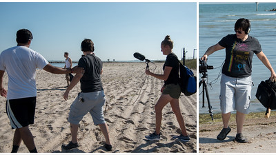 Professor Edward Tyndall's Intro to Media Production students shoot for their final project on the University's beaches.