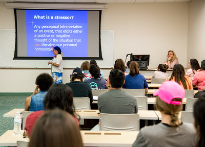 Guest speaker Professor Carmen Hernandez delivers a lecture about stress management to students in Professor Shelley Dinkens's Dimensions in Nursing: Success class.