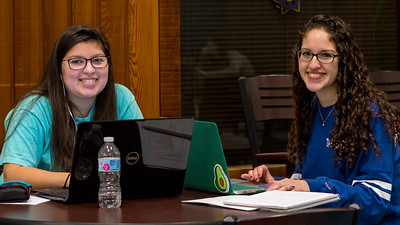 Islander students Natalia Luis (left) and Marysa Luis work together on an Organic Chemistry assignment in the Faculty Center.