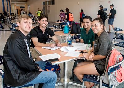 Islanders Nicholas Hamblin (left), Nicholas Urban-Michalak, Brock Silva, and Katrina Jackson study for their final exam in Business Mathematics.