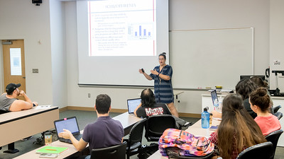 Dr. Gina Glanc gives her lecture over Schizophrenia during her Physiological Psychology class.