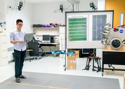 Student Trong Dinh works on his drone project in one of the labs in the  Engineering Building.