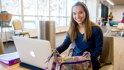 Student Abigail Mondragon studies on her Political Science final exam.