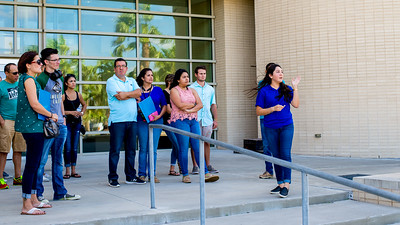 An Islander tour guide takes guests outside the O'Connor building as they make their way across campus.  Click on the link for more information on how to schedule a tour: http://tour.tamucc.edu/