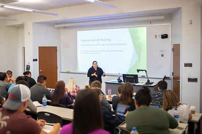 Dr. Roberto directing her Concepts of Human Resource Management course in the Michael & Karen O'Connor building.