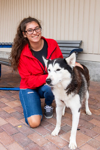 Nursing student Cailean Fitzgerald spends time with her dog, Ella, between classes in Anchor Plaza.