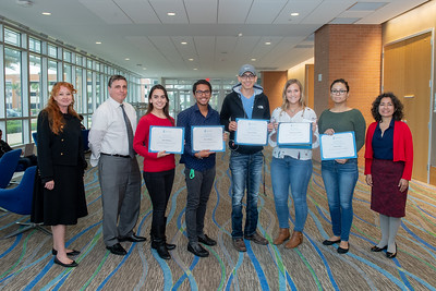 Students majoring in Spanish pose for a photo after they received the Frances Ufkes Award.