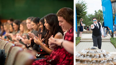 Left: Students receive their Islander Rings during the Islander Ring Ceremony. Right: James McGowan tosses a sanddollar into the Woo Sung Lee fountain as part of the Islander Ring Wish tradition.