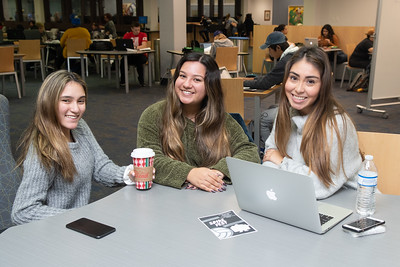 Serenity Soliz (left), Maria de Diaz, and Mari Palacio studying together in the Mary and Jeff Bell Library.