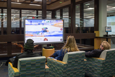 Students compete against one another in Rocket League during International Games Day held at the Mary and Jeff Ball Library.