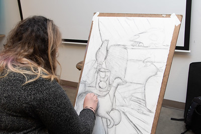 Alissa Ainsworth working on her still life for Drawing I in the Center for the Arts.