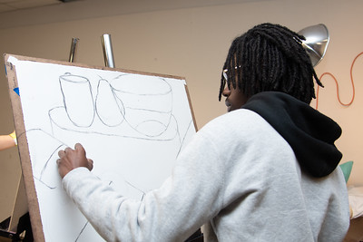 Neiman Ward working on his still life for Drawing I in the Center for the Arts.