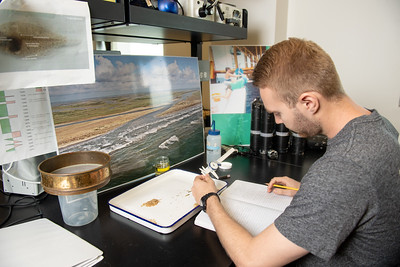 Tyler Jester, a student worker for Harte Research Institute's Center for Sportfish Science and Conservation, sorts samples collected from Cedar Bayou.