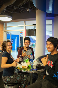 Islander students enjoy lunch in breakers game room on Tuesday afternoon.