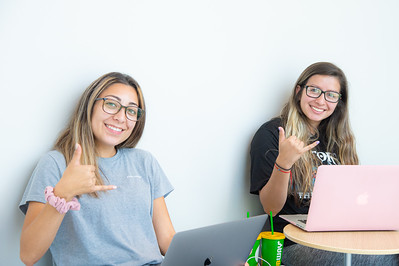Jordyn Villarreal (left) and Alexandria Zuniga studying in Tidal Hall.