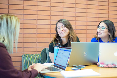 Emma Norton (left), Isa Olson, and Jaquilin Zamarios are studying at O'Connor Building