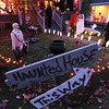 Record-Eagle/Keith King<br /> Trick-or-treaters approach the house of Karen and Jerry Marek on Monday. The Halloween decorations were primarily the idea of their daughter, Kate Marek, with assistance also coming from their son, Andy Marek.