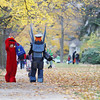 Record-Eagle/Keith King<br /> Liam Tank, left, 12, of Traverse City, dressed as Elmo, and Skylar Lensch, 13, of Traverse City, dressed as a character from the video game Halo, work a neighborhood in Traverse City on Monday evening.