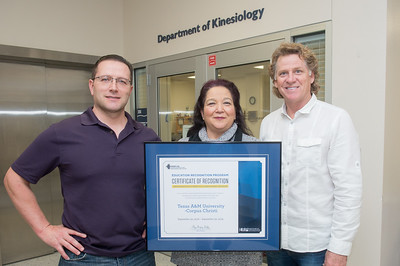 Dr. Don Melrose (left), Liz Perez, and Dr. Frank Spaniol from the Kinesiology Department receive a certificate of recognition from the Exclusive NSCA ERP Program.  Full story: http://tamucc.edu/news/2017/01/012017%20Kinesiology%20Accolade.html#.WIZZQrYrIQ8