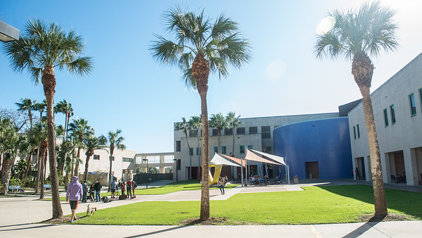 Islanders walk through the Center for Instruction Plaza on their way to classes.