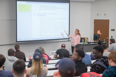 Professor Gevrek reviews proper email etiquette during her Microeconomics Principles class.