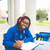 Joshua Williams takes some time between classes to unwind and create an art piece.