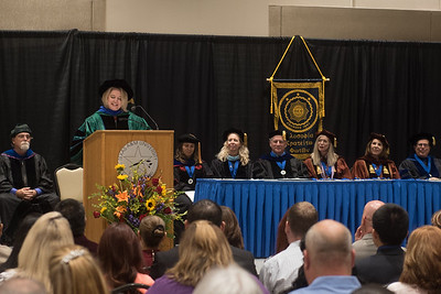 Guest speaker Whitney Kay Kilgore shares advice to new memebers of Phi Kappa Phi during the initation ceremony.