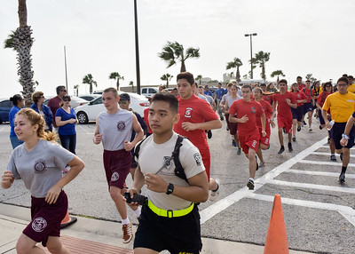 Coastal bend area high school students take off from the Hammer Head Parking Lot during the annual ROTC Islander Challenge.