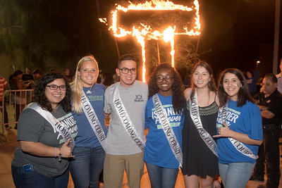 Members of the Homecoming Court pose for a photo at the Lighting of the I.