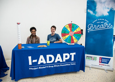 Kayla Stovall (left) with Smoke Free 2020 and Liz Cook with I-ADAPT at their tables in the University Center.