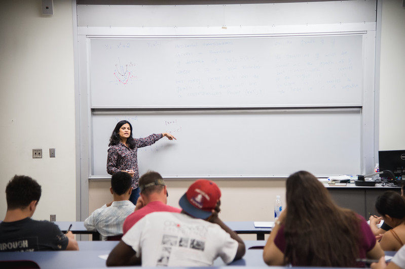 Professor Archana Krishnagiri breaks down a problem for her College Algebra class.