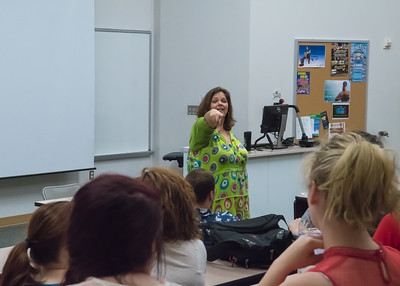 Professor Alison Frost calls on students to share their experiences during her Acting for the Camera lecture.