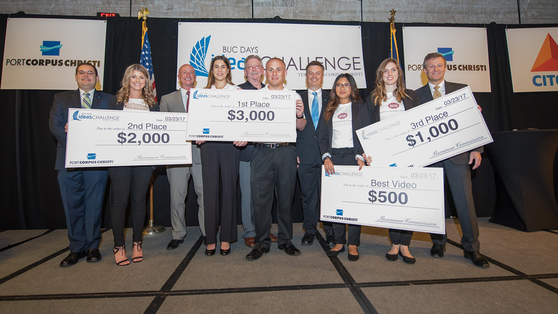 Winners from the Buc Days Ideas Challenge gather for a photo with their coaches from the College of Business.