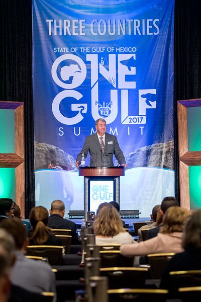 Dr. Larry McKinney welcomes attendees to the 2017 State of the Gulf of Mexico One Gulf Summit.
